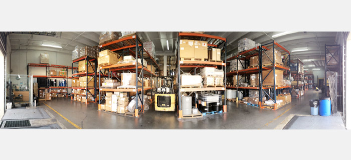 logistic operations - panoramic view of warehouse – rack area